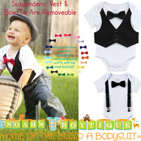 Baby Boy Tuxedo - Black and White - Infant Tux - Wedding - Baby Boy Clothes - Baby Outfit - Newborn Tuxedo - Black Suit - Church - Bow Tie