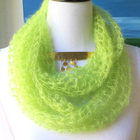 Silk Mohair Cowl, Soft green hand crochet infinity scarf, Luxury neck warmer, gift under 40