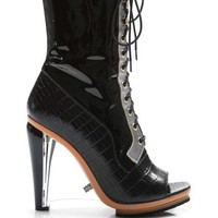 Rodarte Embossed Crocodile Leather Lace Up Boot With Lucite Heel Black