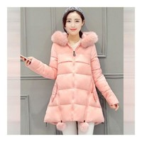 Winter Woman Middle Long Thick Down Coat Plus Size   pink