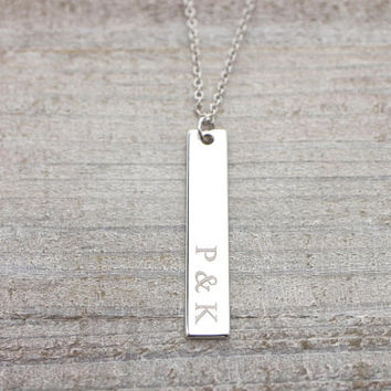 Custom initial & initial gold/ silver/ rose gold vertical bar necklace