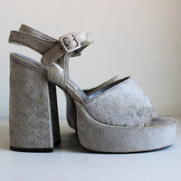 vintage 90's SILVER crushed velvet PLATFORMS raver spice up your life sandals peep toe 5 1/2 inch heels women's size 10 US