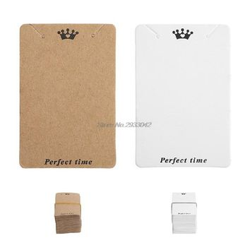 100Pcs 7.5x5cm Kraft Paper Ear Studs Hang Tag Jewelry Display Card Pendant Craft DIY-W128