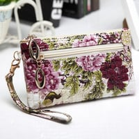 Fashion printing woman clutch bags peacock pattern small bag phone bags wallets Clutches handbags floral wallet