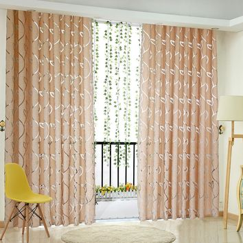 Floral Half Shading Cirrus Vine Leaf Partition Window Curtain Floor to Ceiling Windows Curtain Living Room Bedroom Decoration