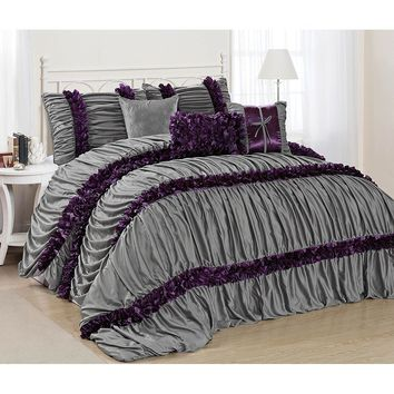 7 Piece Karalina Chic Ruched Pleated Comforter Sets Queen/King/CalKing in Multi Colors (Grey, Burgundy, Gold, White, Blue)