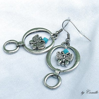 Circular Silver Plated Earrings with Butterfly and Turquoise Crystals READY to SHIP