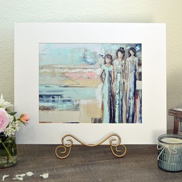 """""""Sisterhood"""" LIMITED EDITION, MATTED & SIGNED by Artist Giclee Print Abstract Figurative Painting 20x16"""""""