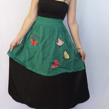 Vintage Sweet Retro 50s 60s Green Cotton Voile Butterfly Embroidered Lace Apron Kitchen Diner Housewife Pin Up Girl Kitsch Waitress Folk