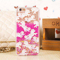 """Cartoon Unicorn Horse Clear Dynamic Liquid Glitter Colorful Paillette Sand Quicksand Star Phone Cases Cover for iPhone 6 6s 4.7"""""""