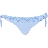 River Island Womens light blue 3D flower bikini bottoms