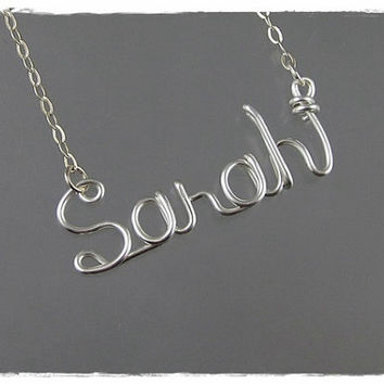 FREE SHIPPING!!!  Sarah Wire Word Name Pendant Necklace