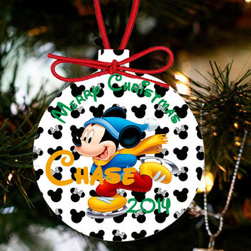 Personalized Mickey Ice Skating Christmas Ornament