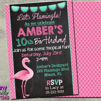 FLAMINGO BIRTHDAY INVITATION - Luau flamingo invitation - Tropical Birthday Invitation - Flamingo Party Invite - Flamingle Invitation