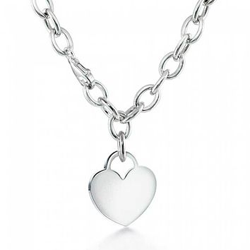 Solid Heart Shape Tag Pendant Necklace Engravable Sterling Silver Rolo