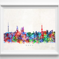 Baku Skyline Print, Azerbaijan Print, Baku Poster, Cityscape, Watercolor Art, Home Decor, Giclee Art, Room Art, Christmas Gift