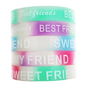 10 Pcs Word Customzied Best Friend Bracelets Bangles Unisex Turret Games Rubber Flexible Friendship Bracelets Wristband Bangles
