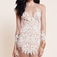 Subtle Reveal White Beige Sheer Mesh Long Sleeve Lace Embroidered Scoop Neck Bodycon Mini Dress