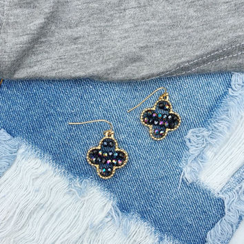 Beaded Peacock Clover Earrings