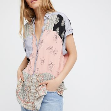 Free People Patch Printed Shirt