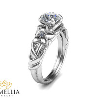 14K White Gold Diamond Ring,Unique Engagement ring,Branche Ring,Leaf Rings,Fashion Ring,Flower Engagment Ring,Nature Inspired,Art Deco Ring.