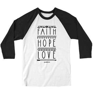 Cherished Girl Grace & Truth Faith Hope Love Arrow Christian Long Sleeve Raglan T Shirt