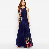 Elegant Fashion Flower Print Round Neck Sleeveless Maxi Dress