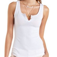 Ribbed Henley Tank Top by Charlotte Russe