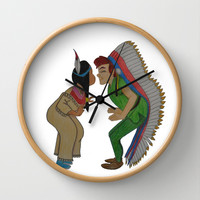 Peter Pan and Tiger Lily Wall Clock by Sierra Christy Art