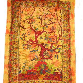Psychedelic Orange Indian Handmade Tree of Life Printed Tie-Dye Wall Hanging Tapestry