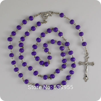 Purple Wood Rosary Beads INRI JESUS Cross Crucifix Pendant Necklace Blessed Virgin Mary Catholic Fashion Religious jewelry