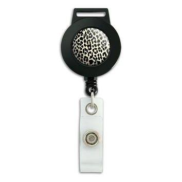 Leopard Print Tan and Black Retractable Badge Card ID Holder