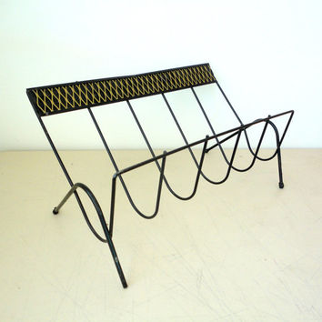 Vintage Magazine Rack Black Wire Mid Century Modern Magazine Storage Record Rack Diamond Pattern