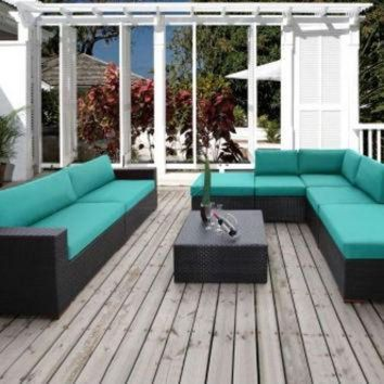 CREYUG7 2017 Home And Gardens Outdoor Wicker Furniture 8 Piece Patio Sectional Conversation Se