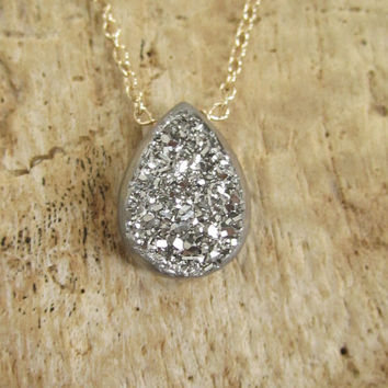 Silver Window Druzy Necklace Titanium Drusy Quartz 14K GF Cable Chain