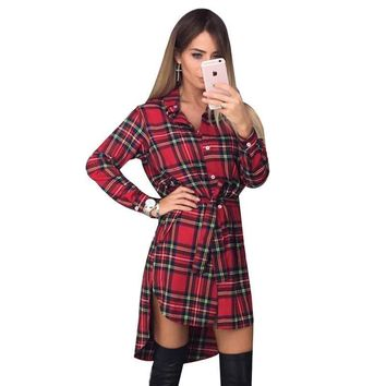 Women Plaid Print Button Down Front Dress Shirt Tunic