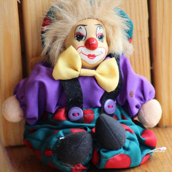 Small Clown Doll, Purple Clown Figurine, Porcelain, Circus Clown, Home Decor