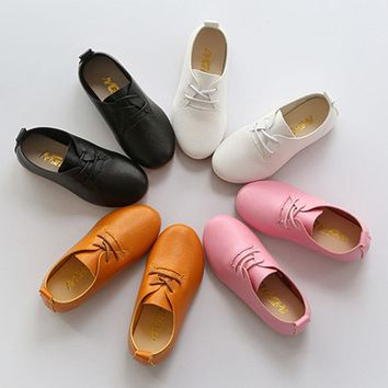 2017 Autumn Baby Leather Shoes Lace Up Toddlers Girls Loafers British Style Infant Casual Shoes Kids Boys Flats Sapatos Enfant