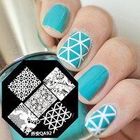 $2.99 Nail Art Stamp Template Quirky Net Floral Pattern QA92 - BornPrettyStore.com