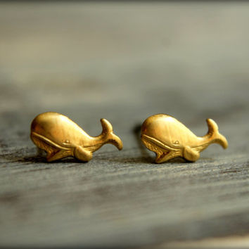 Itty Bitty Whale Earring Studs in Raw Brass, Stainless Steel Posts