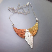 Bohemian silver brass and copper bib necklace, long boho chic pendant modern tribal bib necklace mixed metals