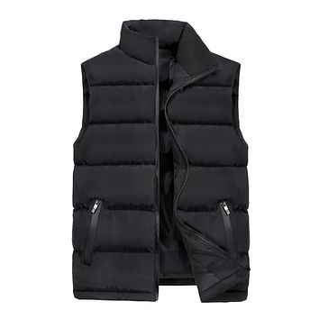Mens Winter Puffer Vest in Classic Black