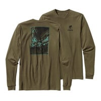 Patagonia Men's Long Sleeved World Trout Cotton T-Shirt- Fatigue Green