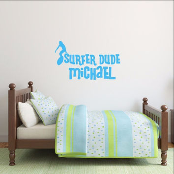 Surfer Dude Decal - Personalized Surfer Vinyl Wall Decal 22436