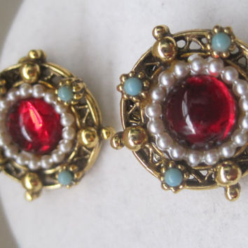 """Gorgeous Marked 'ART"""" Vintage Earrings With A Red Glass Center Accented With Faux Baby Seed Pearls And Turquoise Beads"""