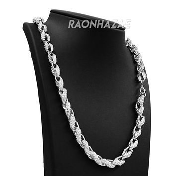 "Hip Hop Fully Iced Mens 10mm Heavy Rope Chain (Multiple Sizes 9""-36"") Silver"