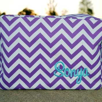 Chevron Makeup Bag Purple, Cosmetic Bag, Makeup Pouch