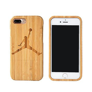 For Apple iPhone 7 6/For HuaweI P9 P8 LITE Handmade Cover Air Jordan Laser Carving Bamboo Protector Sports Phone Case+Free Gift