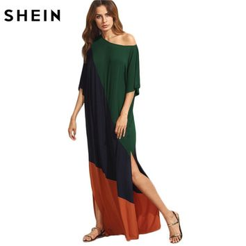 SHEIN Women Casual Dress Asymmetric Shoulder Side Slit Cut and Sew Tee Dress Half Sleeve Color Block T-shirt Dress