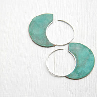 Big Urban Hoops, Verdigris -XL handmade copper and sterling silver earrings, verdigris patina, made in Italy